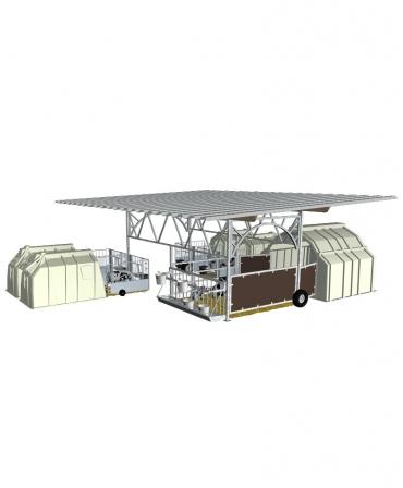 Veranda pentru boxa comuna vitei Calf-Tel MultiMAX, structura de baza fara acoperis, varianta UNO mobila