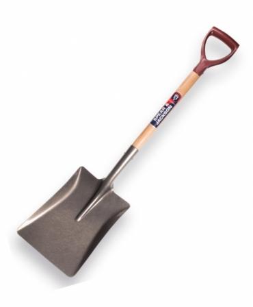 Lopata patrata medie cu lama otel carbon, coada lemn, maner D plastic, Spear & Jackson Neverbend Professional, produs