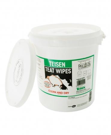 Servetele umede pentru dezinfectia mameloanelor Teisen Teat Wipes, galeata 600 bucati, desfacuta