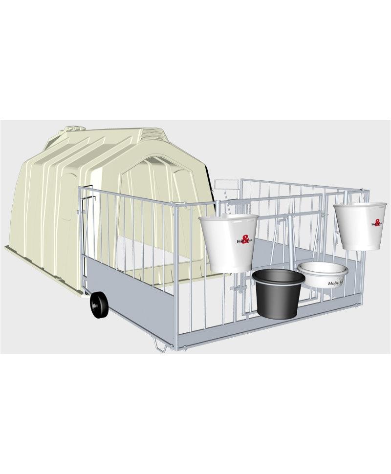 Boxa comuna pentru 2-3 vitei, Calf-Tel TwinHutch cu FlexyFence H&L, design