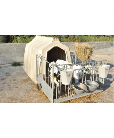 Boxa comuna pentru 2-3 vitei, Calf-Tel TwinHutch cu FlexyFence H&L, cu vitei
