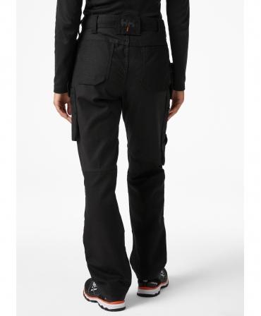 Pantaloni de lucru dama Helly Hansen Luna Construction, negri, imbracati, din spate
