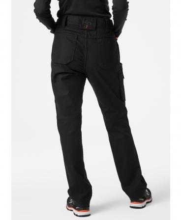 Pantaloni de lucru dama Helly Hansen Luna Service, negri, imbracati, din spate