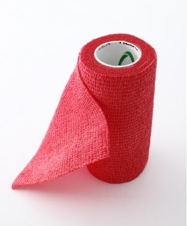 Rola bandaj adeziv elastic 10cm x 4m pentru ingrijirea si tratamentul ongloanelor, Allredo REDO-FLEX, rosu, de aproape