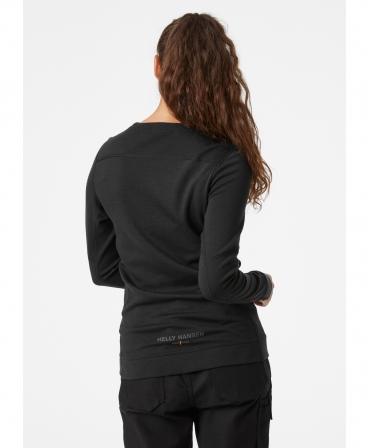 Bluza dama Helly Hansen Lifa Merino Crewneck, neagra, imbracata, spate