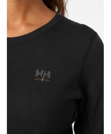 Bluza dama Helly Hansen Lifa Merino Crewneck, neagra, logo