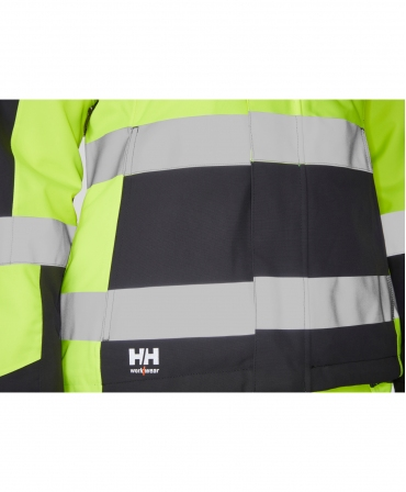 Geaca de iarna dama Helly Hansen Luna Winter, reflectorizanta, HVC2, galben/negru, benzi reflectorizante