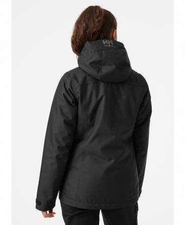Geaca de iarna dama cu gluga Helly Hansen Luna Winter, neagra, imbracata, spate