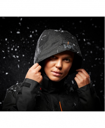 Geaca de iarna dama cu gluga Helly Hansen Luna Winter, neagra, cu gluga pe cap