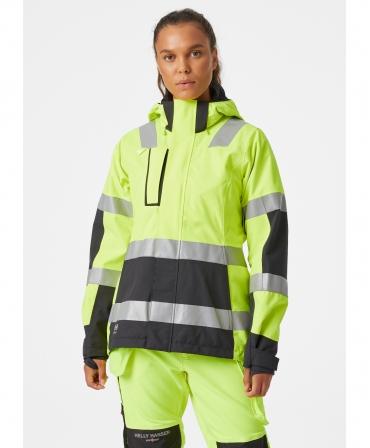 Jacheta dama cu gluga Helly Hansen Luna Shell, reflectorizanta, HVC2, galben/negru, imbracata, fata