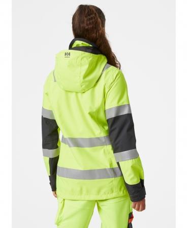 Jacheta dama cu gluga Helly Hansen Luna Shell, reflectorizanta, HVC2, galben/negru, imbracata, spate