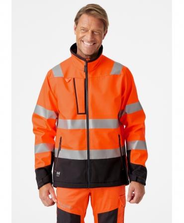 Jacheta Helly Hansen Alna Softshell, reflectorizanta, HVC2, 3, portocaliu/negru, imbracata, din fata