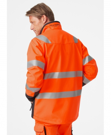 Jacheta Helly Hansen Alna Softshell, reflectorizanta, HVC2, 3, portocaliu/negru, imbracata, din spate