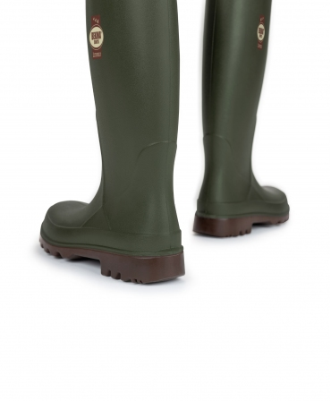 Cizme protectie Bekina Litefield, O4, verde/maro, vazute din spate