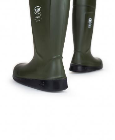 Cizme protectie Bekina Steplite EasyClean cu talpa plata, O4, verde/negru, din spate