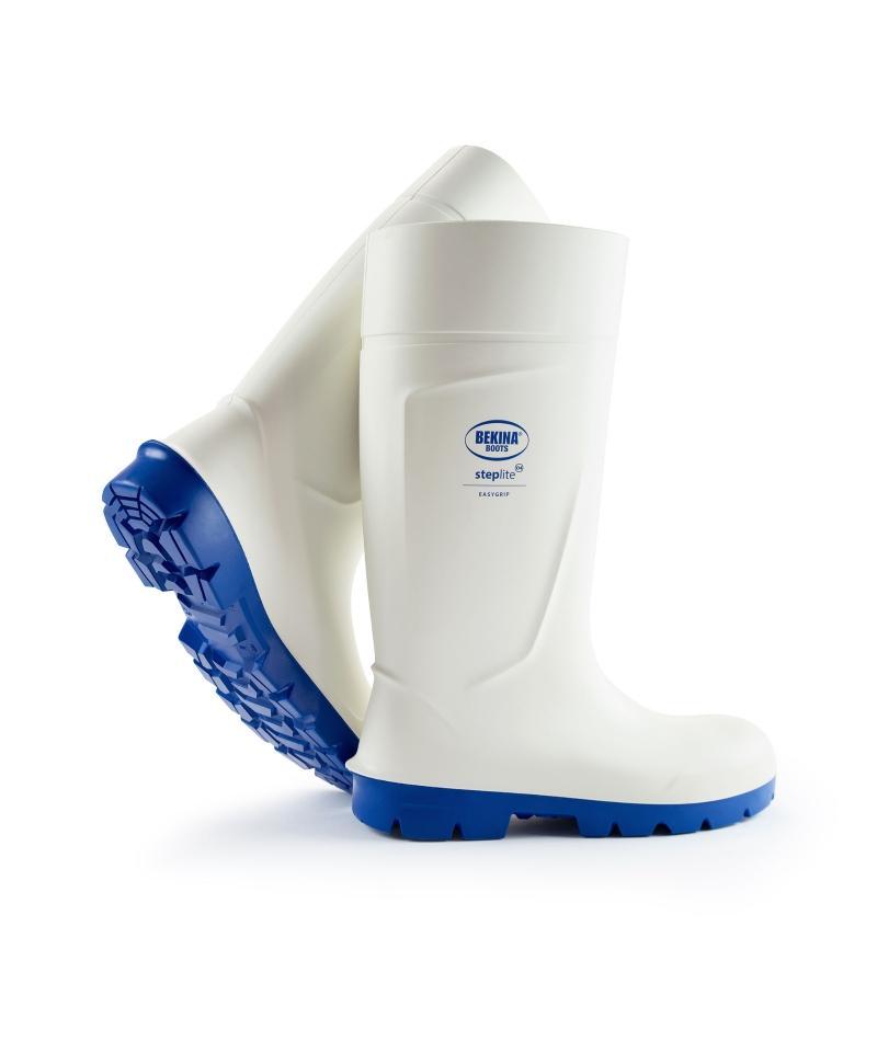 Cizme protectie Bekina Steplite EasyGrip, O4, alb/albastru