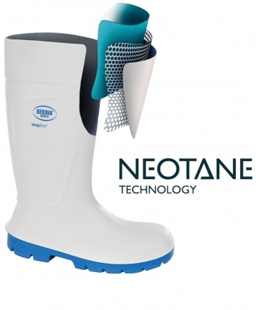 Cizme protectie Bekina Steplite EasyGrip, O4, alb/albastru, tehnologie Neotane