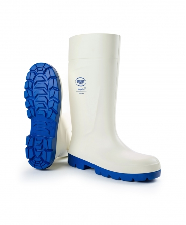 Cizme protectie Bekina Steplite EasyGrip, S4, alb/albastru, din unghi