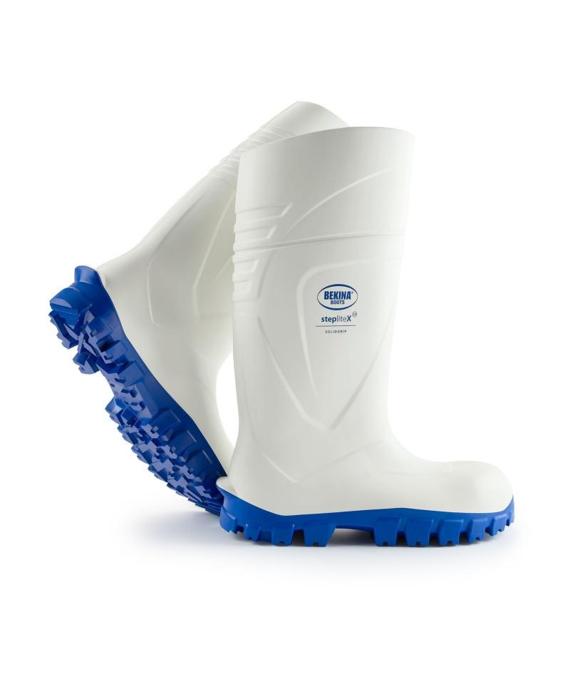 Cizme protectie Bekina StepliteX SolidGrip, S4, alb/albastru