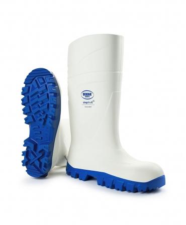 Cizme protectie Bekina StepliteX SolidGrip, S4, alb/albastru, din unghi
