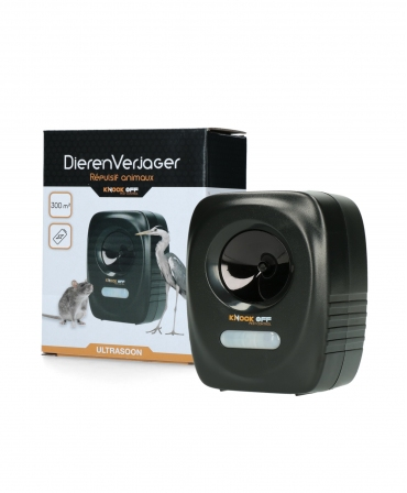 Dispozitiv cu ultrasunete pentru alungarea animalelor, Knock Off, langa cutie