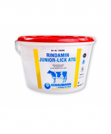 Bloc de lins cu vitamine si minerale pentru tineret bovin, Schaumann Rindamin Junior Lick, galeata 20 kg
