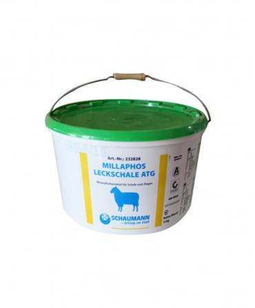 Bloc de lins cu vitamine si minerale fara cupru, pentru ovine, Schaumann Millaphos Leckschale, galeata 15 kg