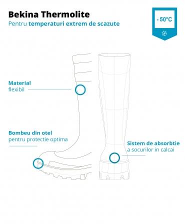Cizme protectie Bekina Thermolite IceShield, S4, verde/antracit, grafic