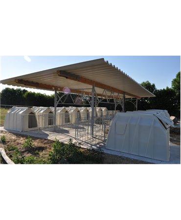 Veranda pentru cusete vitei, Calf Garden H&L, structura de baza fara acoperis, detaliu